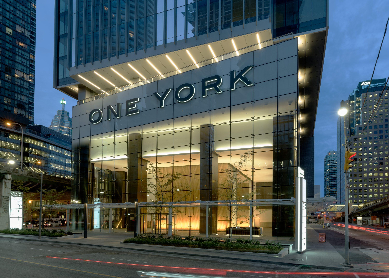 Evening street view of One York Street